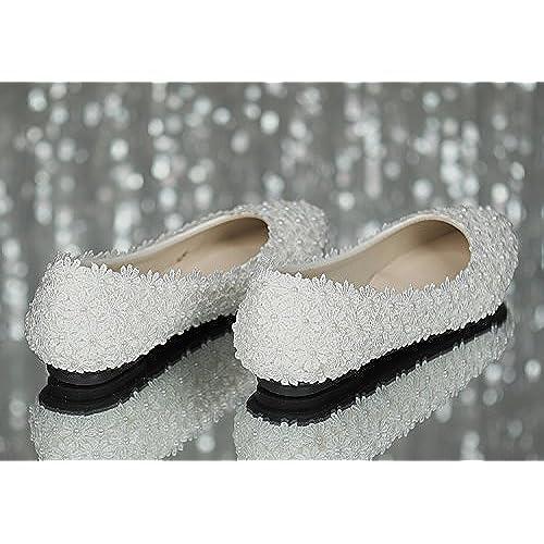 6f2e44a12c1d iBinGo Handmade Wedding Shoes Ivory White Flat Bridal Shoes Lace Pearl  Bridesmaid Shoes(Flat Heels