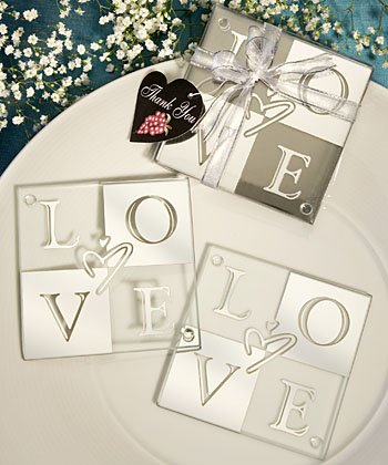 'Love' Coasters: Glass Coaster Wedding Favors, 32 by Fashioncraft