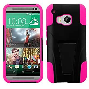 HTC One M9 Case by iViva Hybrid Rugged Dual Layer Armor Case Cover with Built In Kickstand + Touch Sensitive Stylus Pen (Hot Pink)