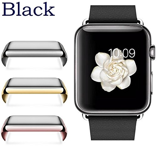Josi Minea Apple Watch [ 42mm ] Protective Snap-On Case with Built-in Clear Glass Screen Protector - Anti-Scratch & Shockproof Shield Guard Full Cover for Apple Watch Series 1-42mm [ Black ] by Josi Minea