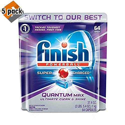 Finish Quantum Max Powerball, 64ct, Dishwasher Detergent Tablets, Ultimate Clean & Shine - Pack 5 by Finish (Image #6)