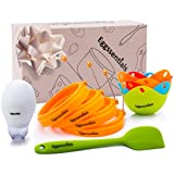 Eggssentials Silicone 4 Egg Ring Pancake Molds Nonstick Set also includes Poached Egg Maker Non-Stick 4 Egg Poaching Cups Silicone Egg Poacher with Spatula, Egg Yolk Separator Microwave and BPA Free