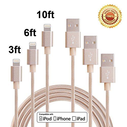 Red Gem 3Pack 3FT 6FT 10FT Extra Long Nylon Braided 8Pin to USB Power Cable Cord with Aluminum Heads for iPhone 6/6s/6 Plus/6s Plus/5/5c/5s, iPad 4 Mini Air iPod Nano 7 iPod Touch 5 (Gold) (Braided Power Cord compare prices)