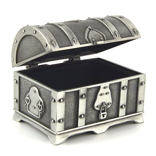 HZMAN Fashion Small Rectangle Antique Silver Metal Treasure Chest Trinket Jewelry Box Gift Box Ring Box by HZMAN