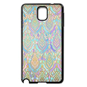 [Check Series] Samsung Galaxy Note 3 Cases Jade & Blue Enamel Art Deco Pattern, Dustin - Black
