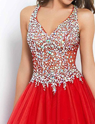 Beaded Womens Sparkly Sexy Homecoming Line Dress Long 2018 Short A Gown LMBRIDAL Prom Red TwB8xqB