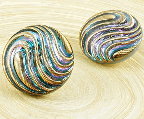 Dichroic Glass Buttons - 1pc Crystal Light Vitrail Gold Wave Lines Large Handmade Czech Glass Buttons Size 12 27mm