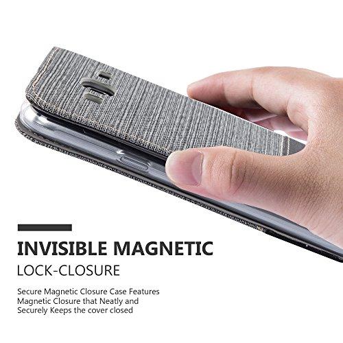 Cadorabo - Funda Estilo Book para Samsung Galaxy J3 (6) (Modelo 2016) de Diseño Tela / Cuero Arificial con Tarjetero, Función de Soporte y Cierre Magnético Invisible