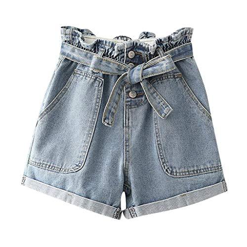 Women's Juniors Summer Bermuda Denim Shorts Plus Size High Waisted Bow Button Bandage Jeans with Big Pocket (XL, Light Blue)