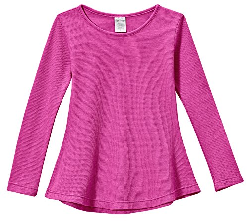 City Threads Big Girls' Thermal Long Sleeve Tunic Shirt Tee Dress for School Party Play, Hot Pink, 7