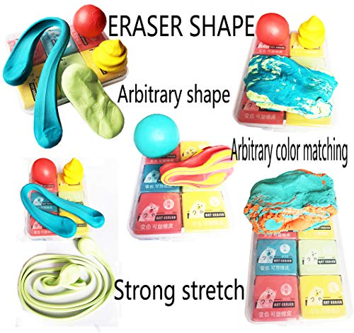Erasers,Kneaded Rubber Eraser,Reusable and Non-Drying,12 Pack Large Size,Multiple Colour by SONGLAN (Image #4)