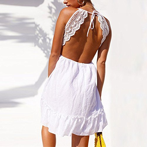 Blanco Sexy Club Mujeres Camisa Sexy Mujer y Vestidos Detrás de Casual para Mujer Verano Fiesta Ropa Mini Escotado por de Vestir 2018 Vestido Elegante Corto Vestido Vestidos Túnica Playa fOPWnqO