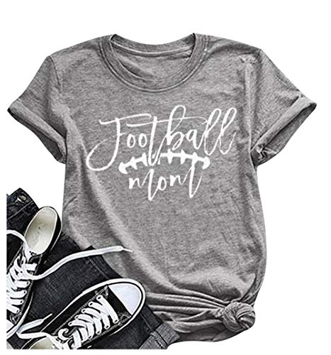 Football Mom T-Shirt Women's Summer Short Sleeve Top Funny Game Day Shirt Size M (Gray) ()