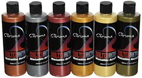 Chroma 1969 Molten Metals Acrylic Paint Set, 8 oz. Bottle, Assorted Color, 6.75