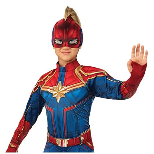 Girls Captain Marvel Hero Suit Deluxe Superhero Costume It comes with a full body jumpsuit that fits with closures in the back. usd