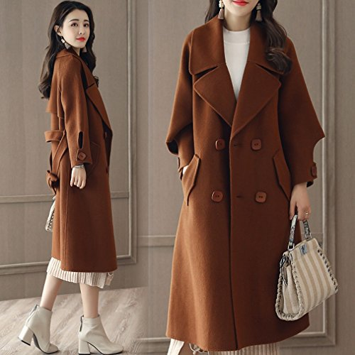 Autumn Long a MIF Thin and It Coat Loose Caramel Winter Fashion Women Section Colour Coat of xwwTqE8St