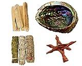 Clarity & Muse Sage Smudge Stick Kit - White Sage, Palo Santo Sticks, Cedar, Blue Sage, Abalone Shell for smudging - House Blessing Kit