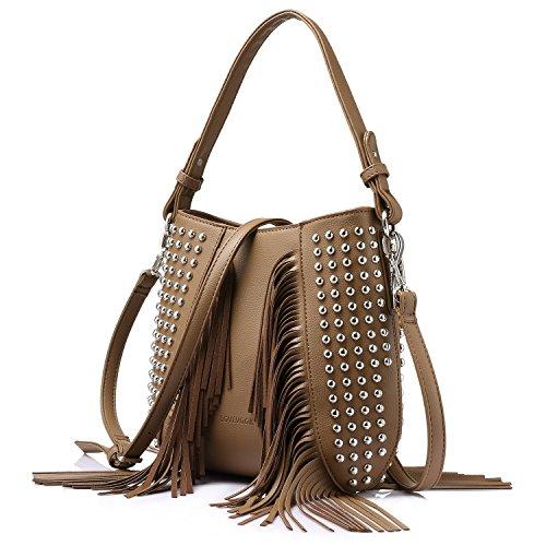 Bag Handbags Bag Zip 3 for Designer Tote Top Satchel Purse khaki Set Rivet Top Pieces Travel Shoulder Bag Handle Women Fpwndq