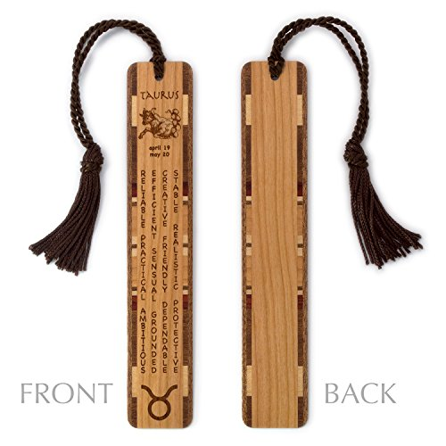 Taurus Zodiac Personality (Taurus Zodiac Sign Artwork and Positive Personality Traits Engraved Wood Bookmark With Inlays and Tassel - Personalized version also available - search B074TW6N1K.)