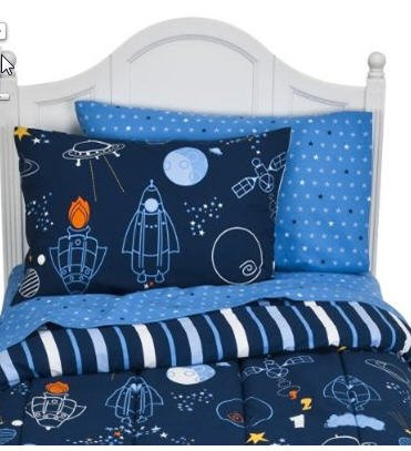 Fabulous Amazon.com: Glow In The Dark Space Rocket Ship Twin Comforter Set  YC55
