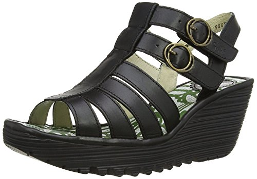 Fly London Ygor Nero Donna Pelle Wedge Summer Sandali Scarpe
