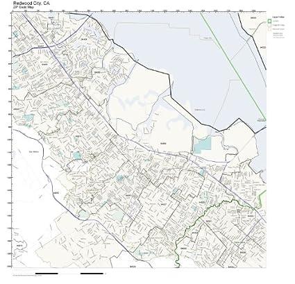 Amazon.com: ZIP Code Wall Map of Redwood City, CA ZIP Code ...