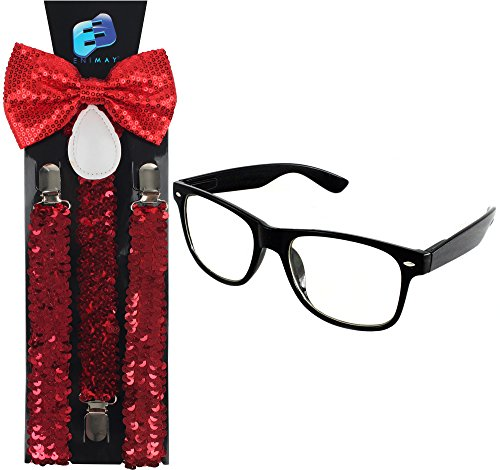 Enimay Suspender Bowtie Wayfarer Clear Glasses Nerd Costume Halloween Red Sequin -