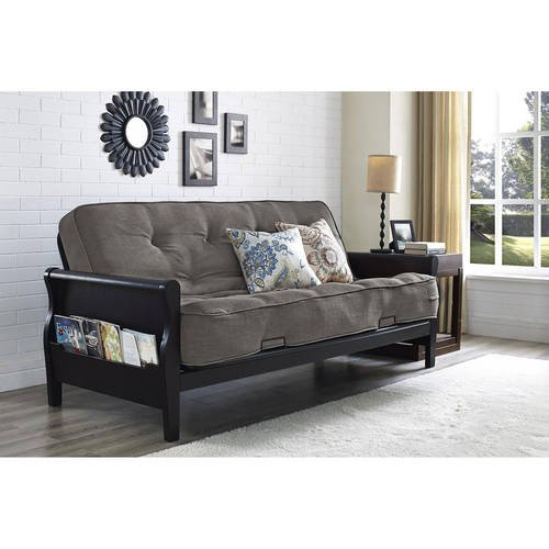 Twill Solid Futon (Solid Wood Arm Metal Futon With 8