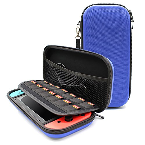 Hard Travel Carrying Case Protective Cover Storage Bag Pouch for Nintendo Switch with 14 Game Card Holders, Shockproof Waterproof Dustproof (Blue)