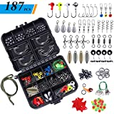 TOPFORT 187/230pcs Fishing Accessories Kit, Including Jig Hooks, Bullet Bass Casting Sinker Weights, Fishing Swivels Snaps, Sinker Slides, Fishing Set with Tackle Box