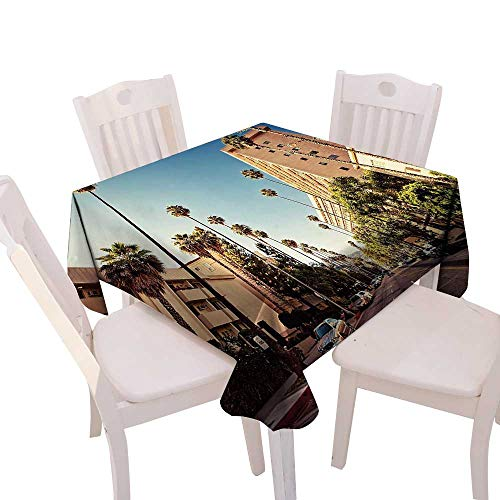 (Spring & Summber Tablecloth Dinner Picnic Cloth Home Decoration,(W54 x L54) Urban A Street in Beverly Hills California Palm Trees Houses Famous City Photo ES Light Blue Peach Green.)