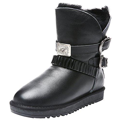 Women Boot Wool Rebound Black Leather Lauren Boots Youweb Tall Winter 6gqFwTgxd