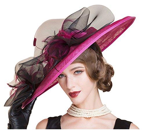 HomArt Women's Floral Church Christening Triple Crown Hats Wedding Party Hat