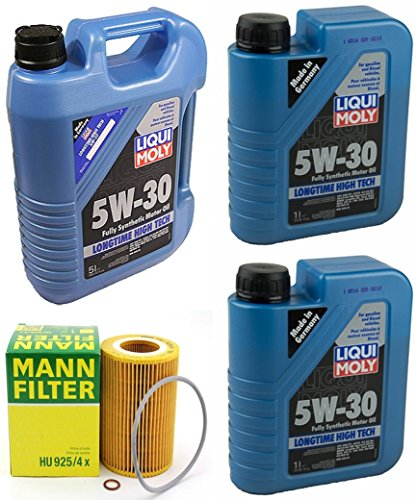(Mann BMW E36/E39/E46/E83 96-06 Oil Change Kit w/LIQUIMOLY 5W-30 Filter HU925/4x)