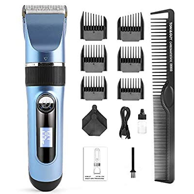 Hair Clippers for Men, Cordless Hair Trimmer Beard Trimmer Professional Hair Cutting Kit Waterproof USB Rechargeable with LED Display for Blending and Fade Cuts