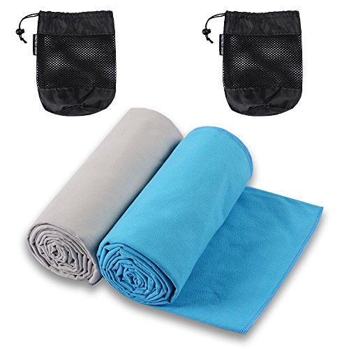 Microfiber Bath Towels for Excercise, Workout or Running, 2-pack, Super absorbent and Fast Drying Towels by The Friendly Swede