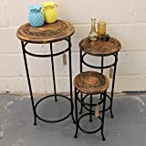Product review for Handmade Set of 3 Occasional Tables Mango Wood and Iron Plant Stand Side Table