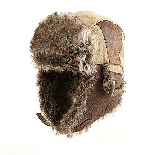 SIGGI Faux Fur Trapper Hat for Men Cotton Warm Ushanka Russian Hunting Hat 5ca176a8a385