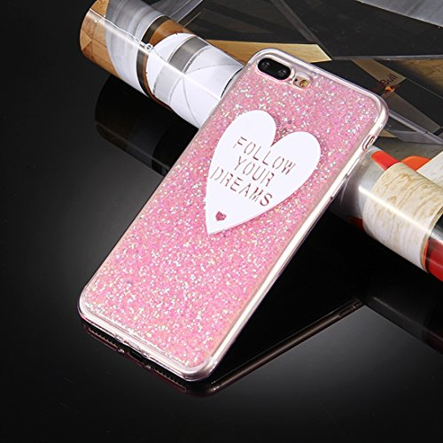 MXNET IPhone 7 Plus Case, Glitzerpulver Herzförmige Words Pattern Soft TPU Schutzhülle CASE FÜR IPHONE 7 PLUS ( Color : Pink )