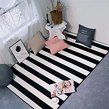 Kooco Simple Blackwhite Stripes Carpets For Living Room Home