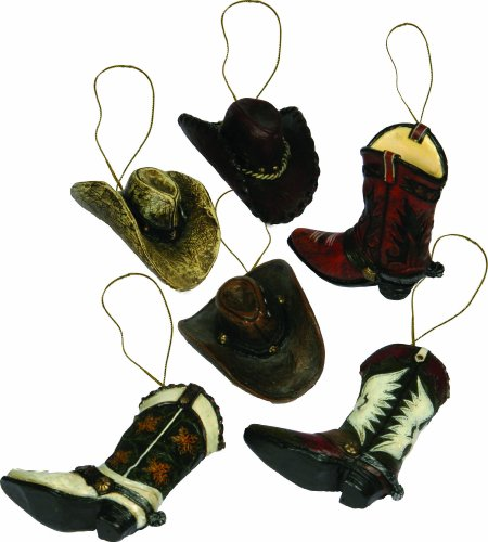 River's Edge Hand Painted Western Boot and Hat Ornament Assortment (6-Piece)