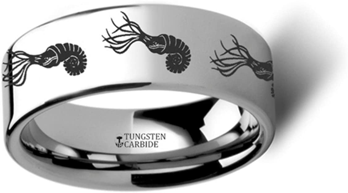 Thorsten Dinosaur Ring Ammonite Prehistoric Paleo Flat Polished Tungsten Ring 4mm Wide Wedding Band from Roy Rose Jewelry