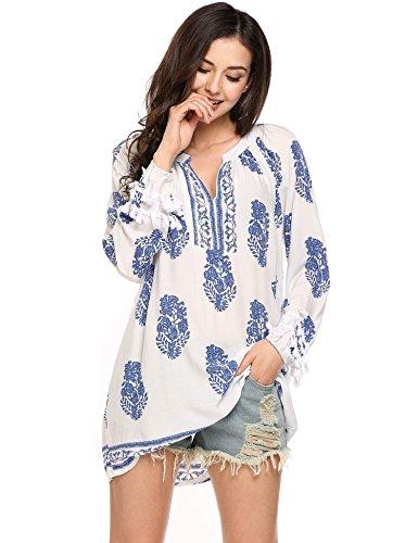 Soteer Women's Fashion ZSxi Hippie Boho Paisley Print Summer Sundress Casual Blue XL