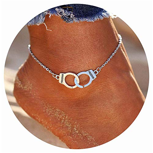 NewChiChi Cute Elephant Anklets Ankle Bracelets Sunflower Boho Layered Rope Adjustive Anklets Handmade Beach Foot Jewelry for Women Girls (Handcuffs)