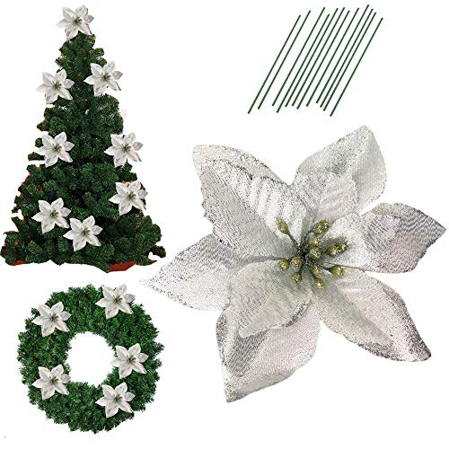 5 Inch Glitter Artifical Wedding Christmas Flowers Glitter Poinsettia Christmas Tree Ornaments Pack of 12 ()