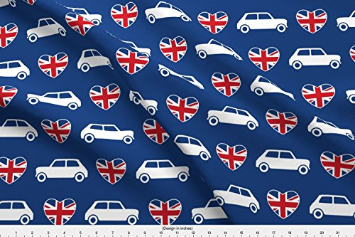 Spoonflower Mini Cooper Fabric Mini Cooper Hearts - Union Jack Blue - Large by Cpilgrim Printed on Lightweight Cotton Twill Fabric by the Yard (Printed Union)