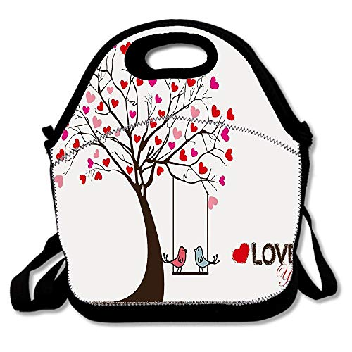 (Heart Leaves On Tree With Birds In Love On A Swing Cute Cartoon For Day Hand Lunch Bags Insulated Thermal Cooler Outdoor School Office Travel Picnic Lunch Box Tote Handbag)