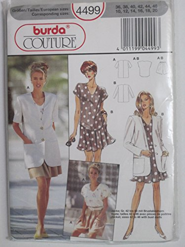 Burda Misses Jacket (Burda Pattern 4499 Misses' Top, Jacket and Pantskirt Sizes 10-12-14-16-18-20)