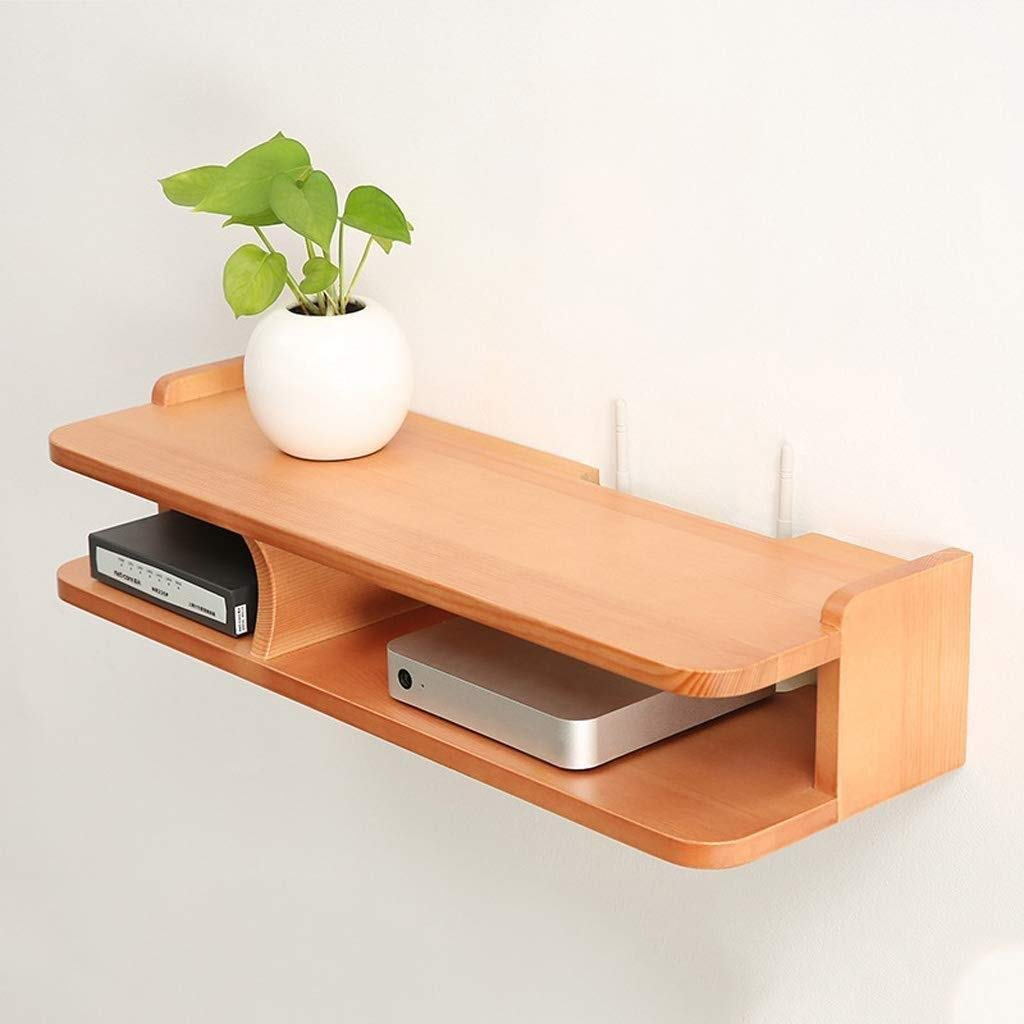 RMJAI Solid Wood TV Set-top Box Rack WiFi Router Shelf Bedroom partition Router Storage Box Player Storage Rack (Color : A) by RMJAI