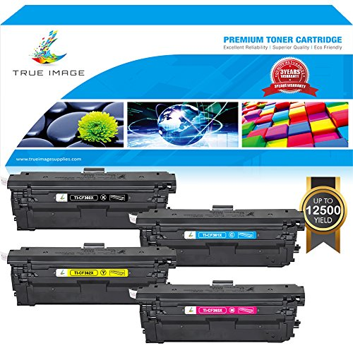 True Image 4 Packs High Yield 508X CF360X CF361X CF362X CF363X for HP Color Laserjet Enterprise M553DN Toner HP 508X 508A CF360X CF360A Toner HP Color Laserjet M553X M553N M553 M577 M552DN Toner Ink -